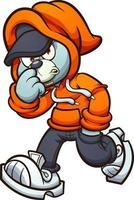 Gray Teddy bear with orange hoodie walking. Vector clip art illustration with simple gradients.