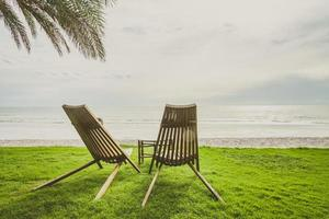 Wood chairs on the green grass with beach and palm tree background photo