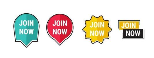 Join now sticker with modern shape. Colorful design space text template. Vector illustration.