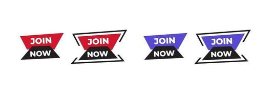 Join now vector sticker icon. Design with modern shape for lower third, logo, broadcast, banner ad. Vector illustration.