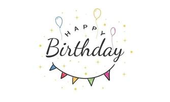 Happy Birthday text lettering calligraphy isolated on white background. Greeting Card Vector Illustration.