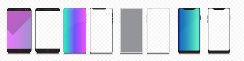 Realistic models smartphone with transparent screens. Smartphone mockup collection. Device front view. 3D mobile phone with shadow on transparent background vector