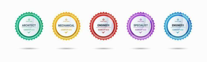 diseño de logotipo de insignia certificado para los certificados de insignia de capacitación de la empresa para determinar en función de criterios. conjunto de paquetes certificar ilustración vectorial colorida. vector