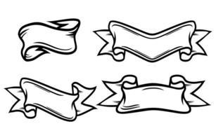 Ribbon Vectors. Set of retro and flat ribbons vector