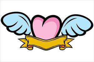 Cute Winged Heart. heart with wings vector