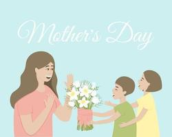 Children give mom a bouquet of daffodils vector