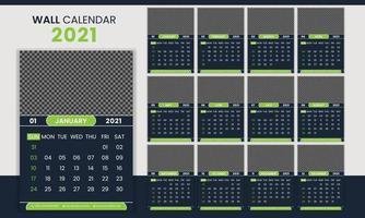 plantilla de calendario de pared de negocios corporativos creativos 2021 vector