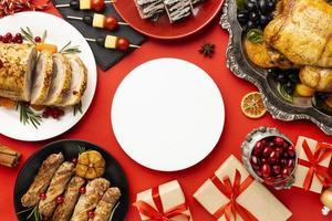 arreglo de comida navideña deliciosa endecha plana foto