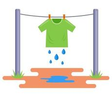 the washed T-shirt is dried in the open air. hang wet clothes on a rope. flat vector illustration isolated on white background.