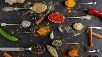 Flat lay spices arrangement photo