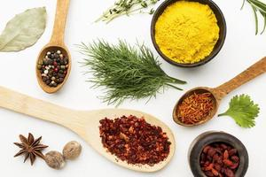 Flat lay spices ingredients photo