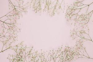 Frame made with gypsophila baby's breath flowers on pink background photo
