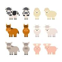 Set of farm cute cartoon animals. Cow with udder, lamb, horse, goat, donkey, pig. Vector isolated illustration on white background, flat style, profile and full face views