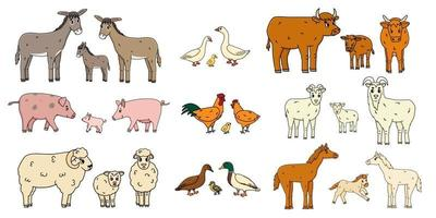Cute farm animals families isolated on white background. Vector cartoon outline doodle animals collection donkey goose cow ox pig hog chicken hen rooster goat sheep duck horse for children book