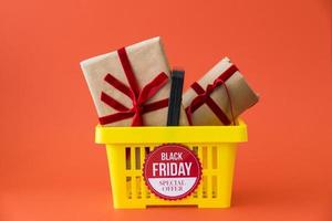 Black friday decoration with gifts basket photo