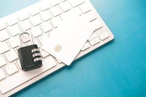 Chip card with padlock on a keyboard photo
