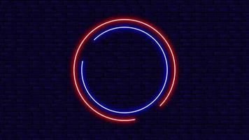 el diseño circular del marco de luces de neón de colores redondos en la pared video