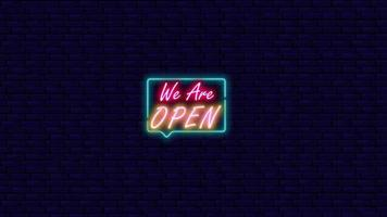 We Are Open Neon Light On The Wall video