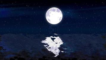 rayo de luna a medianoche sobre el océano ondulado y el brillo de las estrellas video