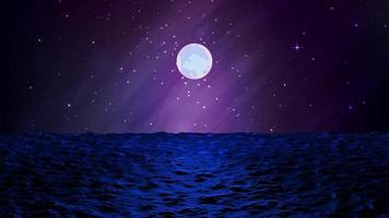 mar ondulado à meia-noite sob a galáxia Via Láctea video