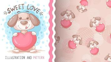 Perro de personaje de dibujos animados infantil con corazón - patrón sin costuras vector