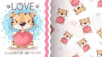 Adorable personaje de dibujos animados tigre animal con corazón - patrón sin costuras vector