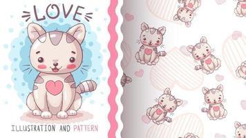 Gato de personaje de dibujos animados infantil - patrón sin costuras vector