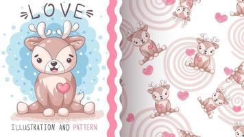 ciervo animal lindo personaje de dibujos animados - patrón transparente vector