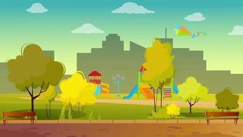 día ventoso en un parque fuera de la ciudad video