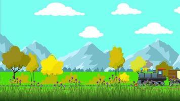 o trem está em uma planície verde em um dia de primavera video