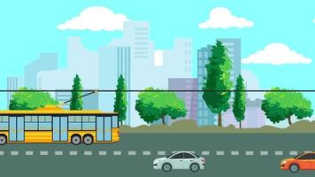 The Electric Bus In The Street Is Transporting People video