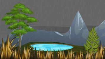 el pequeño lago en las montañas en un clima lluvioso video