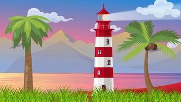 la grande lanterne au bord de la mer d'une île video