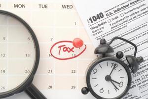 Tax day on calendar photo