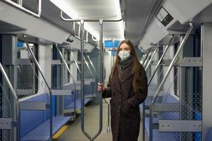 A woman in a medical face mask is keeping social distance in a modern subway car photo