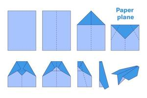 Vector cartoon origami diagram illustration of paper plane on white background.