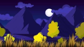 água de pedra velha nas colinas à meia-noite ventosa video