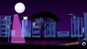 Full Moon Over The City In Dark Night video