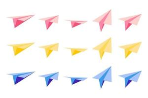Set of vector cartoon illustrations with origami paper planes with views from different sides on white background.