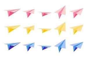 conjunto de ilustraciones de dibujos animados vectoriales con aviones de papel de origami con vistas desde diferentes lados sobre fondo blanco. vector