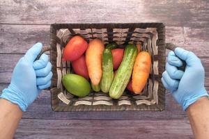 Veggies in a basket photo