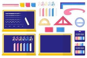 Set of vector cartoon illustrations with school blackboard, colored chalk, sponge, stickers, rulers on white background.