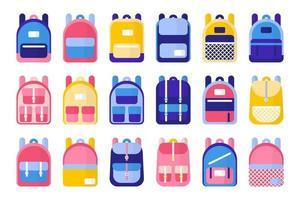conjunto de ilustraciones de dibujos animados vectoriales con mochilas y mochilas escolares sobre fondo blanco vector