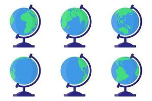 Conjunto de ilustraciones de dibujos animados vectoriales con globo terráqueo escolar de escritorio desde diferentes lados sobre fondo blanco. vector