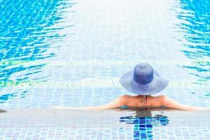Women wearing hat in hotel swimming pool photo