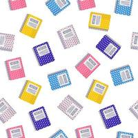 Vector cartoon seamless pattern with colorful notebooks on white background for web, print, cloth texture or wallpaper.