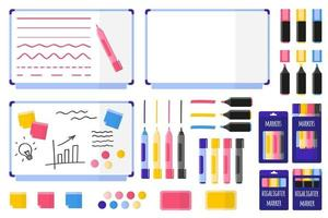 Set of vector cartoon illustrations with magnetic board, colored markers, sponge, stickers, magnets on white background