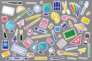 Set of vector cartoon illustrations with school bags and backpacks on white background