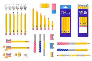 Set of vector cartoon illustrations with simple pencils, pencil sharpener and eraser on white background.