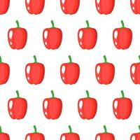 Vector seamless pattern with whole ripe red bell pepper isolated on white background